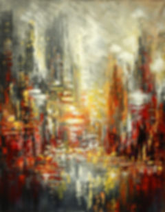 """Original urban cityscape painting by Tatiana Iliina, Nuits Blanches, palette knife, acrylic on canvasacrylic on canvas, 16""""x20"""""""""""