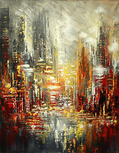 "Original urban cityscape painting by Tatiana Iliina, Nuits Blanches, palette knife, acrylic on canvasacrylic on canvas, 16""x20"""