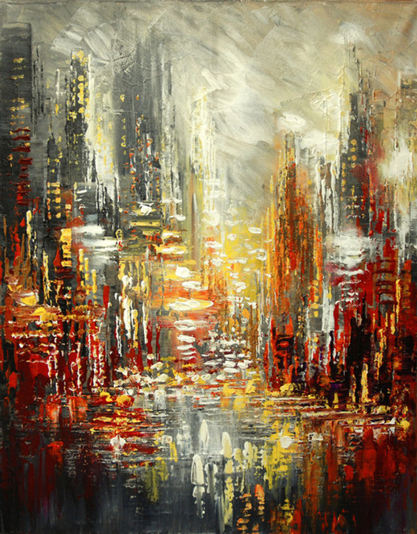 "Original urban cityscape painting by Tatiana Iliina, Nuits Blanches, palette knife, acrylic on canvasacrylic on canvas, 16""x20"""""