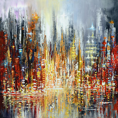 Rejoice, original contemporary colorful cityscape palette knife painting by Tatiana Iliina