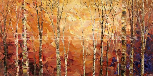 Tintern Woods painting by Tatiana iliina, autumn forest palette knife