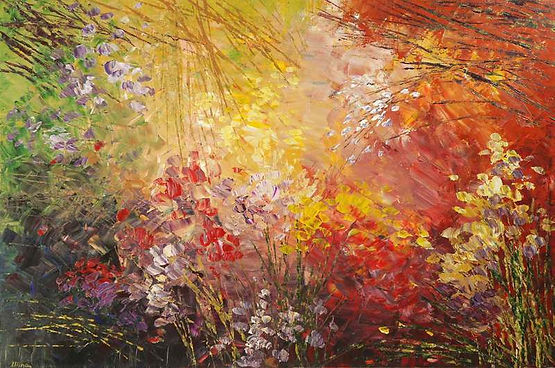 contemporary flower painting by Tatiana Iliina, palette knife, acrylic on canvas, 24'x36""