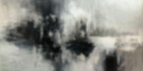 "Pluto Horizons abstract painting by Tatiana iliina black and white, acrylic on canvas, 24""x48"""