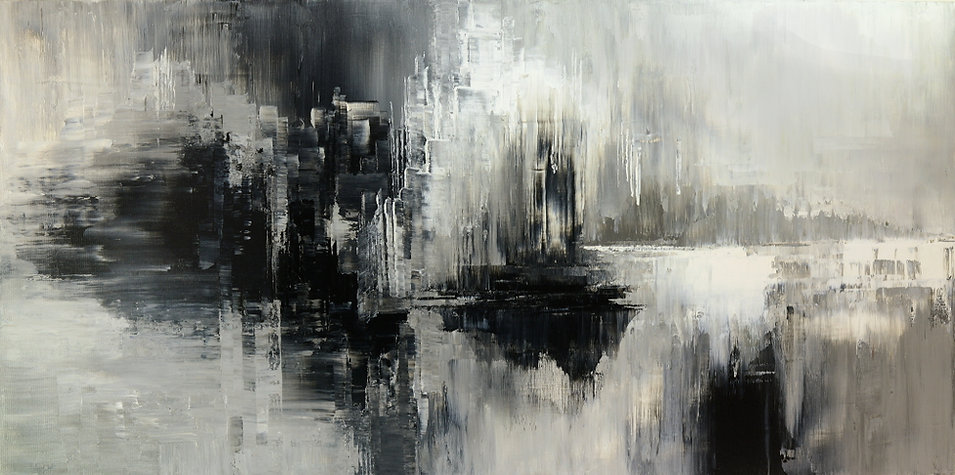 Pluto Horizons black and white abstract painting by Tatiana Iliina, acrylic on canvas, 24x48