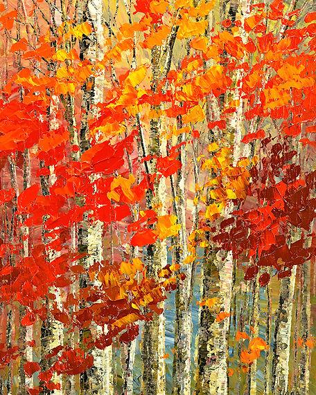 Incense and Scarlet fall forest painting by Tatiana iliina landscape