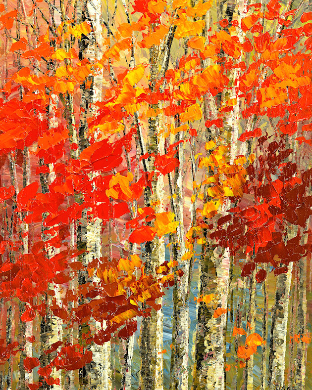Incense and Scarlet original fall forest painting by Tatiana iliina landscape