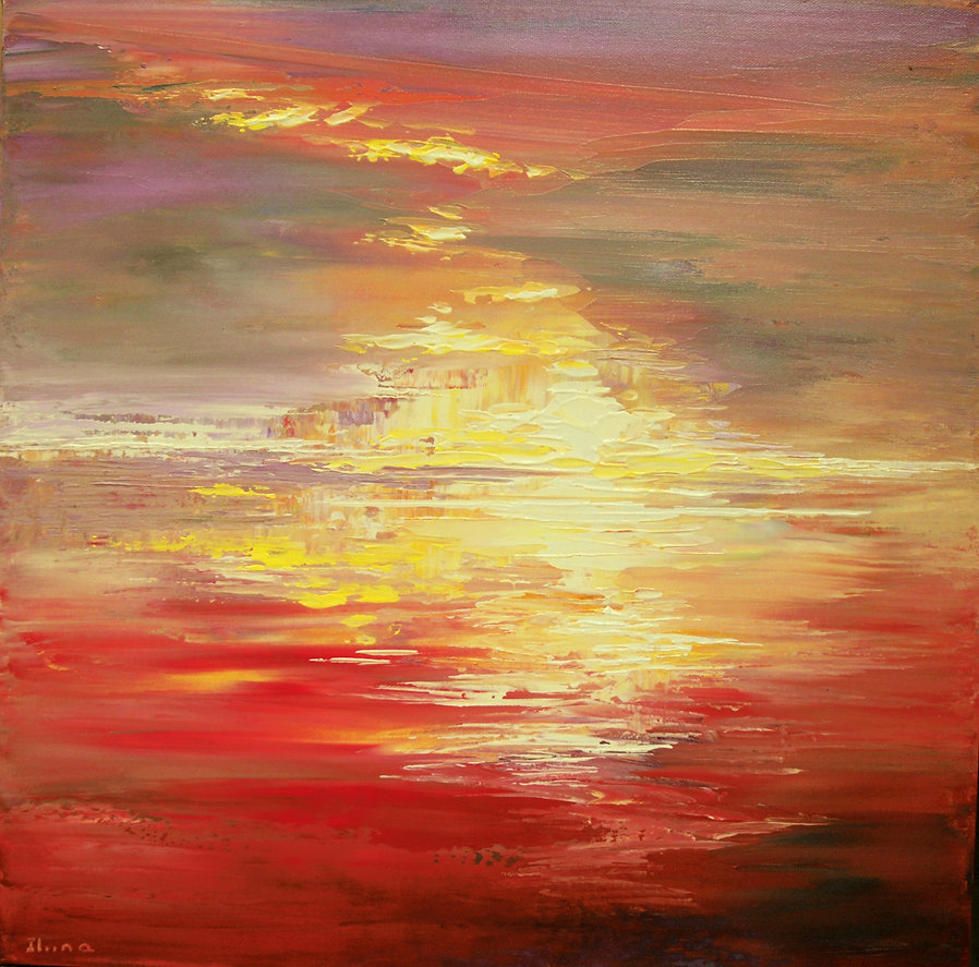 "Utopian Sunset original abstract landscape painting by Tatiana Iliina, palette knife, acrylic on canvas, 18""x18"""