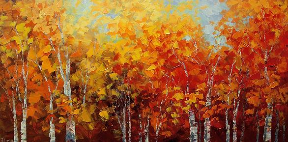 "Changes, original fall landscape painting by Tatiana Iliina, palette knifeacrylic on canvas, 18""x36"""