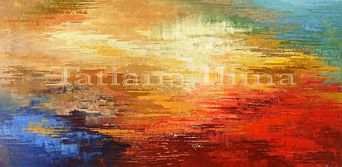 """Real Ancient Sun, original abstract painting by Tatiana Iliina, palette knife, acrylic on canvas, 24""""x48"""""""