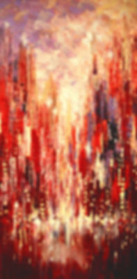 impressionist New York cityscape painting by Tatiana Iliina, palette knife, red, rust, acrylic on canvas, vertical