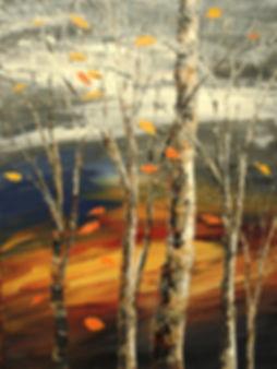 Last Leaf original impressionist fall forest painting by Tatiana iliina for sale