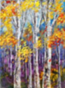 Hint of Opal original fall foliage landscape painting by Tatiana iliina