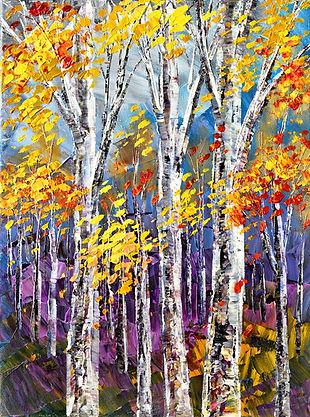 Hint of Opal original fall landscape palette knife painting by Tatiana iliina