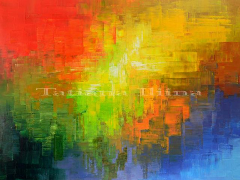 large colorful abstract painting by Tatiana Iliina