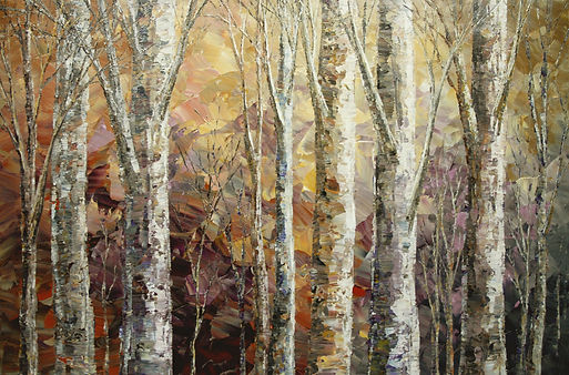 """Melodious Morning, original impressionist forest painting by Tatiana Iliina, palette knife, acrylic on canvas, 24""""x36"""""""