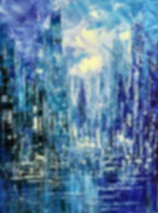 Blue Rain original cityscape painting, steampunk palette knife by Tatiana Iliina, with snow on autumn trees