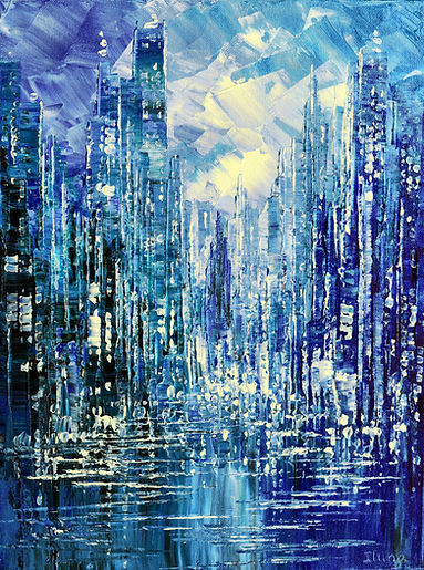 Blue Rain original cityscape painting, steampunk palette knife by Tatiana Iliina, with snow on autumn trees
