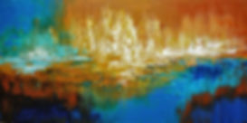 Coast of Corsica original abstract landscape painting palette knife by Tatiana iliina
