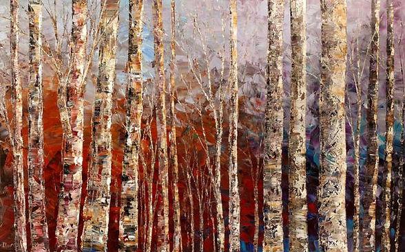 "large, original forest landscape painting by Tatiana Iliina, palette knife, acrylic on canvas, 24'x36"", purple, rust, birch"