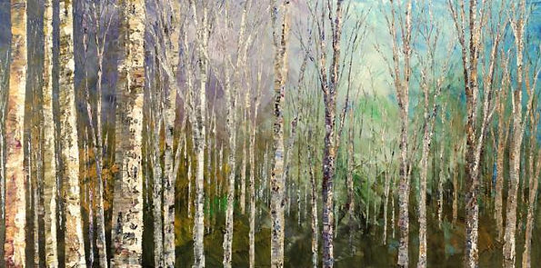 original impressionist landscape painting, palette knife, blue, green, acrylic on canvas, 24'x36""