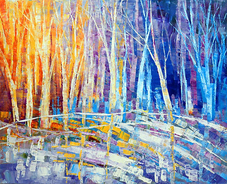 The Color of Snow, original abstract landscape painting by Tatiana Iliina for sale