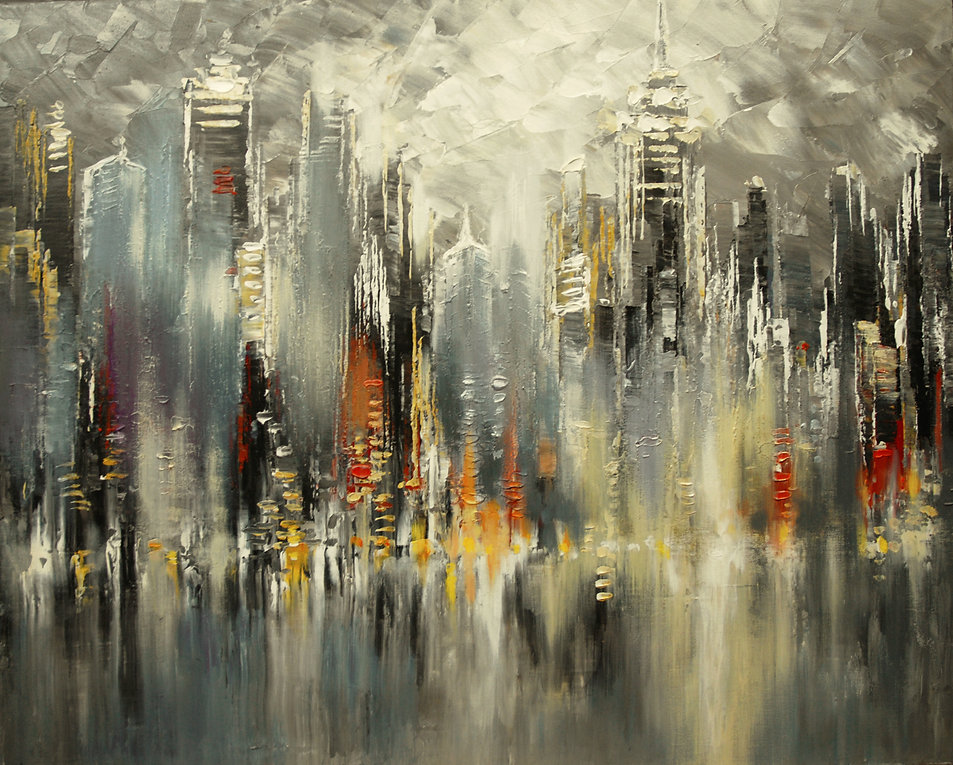"Original city painting by Tatiana Iliina, Hudson River Towers, palette knife, acrylic on canvas, 24""x30"""