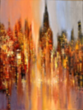 Misty Dawn original cityscape painting, steampunk palette knife by Tatiana Iliina, with snow on autumn trees