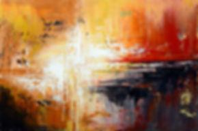 "Tequila Sunrise, original abstract painting by Tatiana Iliina, palette knife, acrylic on canvas, 24""x36"""