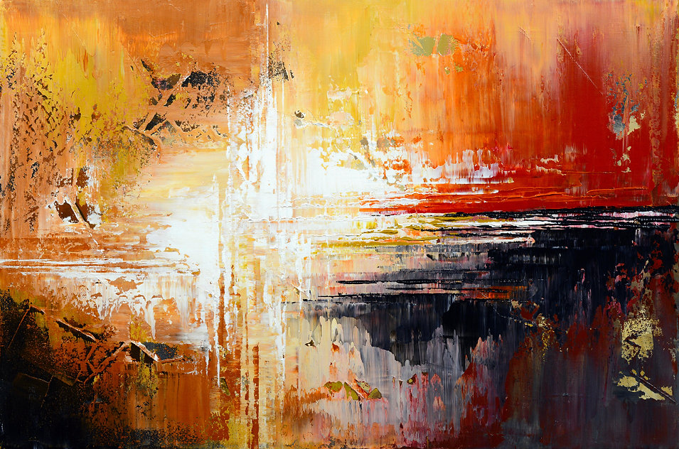 "original abstract painting by Tatiana Iliina, palette knife, acrylic on canvas, 24""x36"", Tequila Sunrise"
