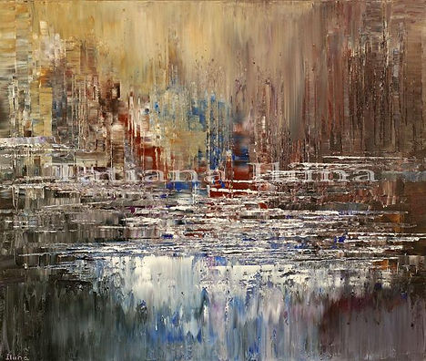 """Whitewater Moment original abstract landscape painting by Tatiana Iliina, palette knife, acrylic on canvas, 30""""x36"""""""