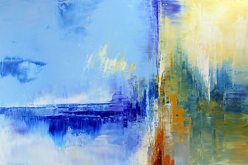 "Out of the Blue, original abstract painting by Tatiana Iliina, palette knife, acrylic on canvas, 24""x36"""