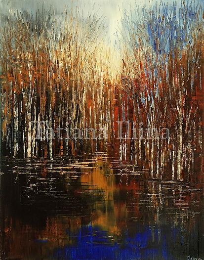 Intense Landscape, original landscape palette knife dark forest painting by Tatiana iliina