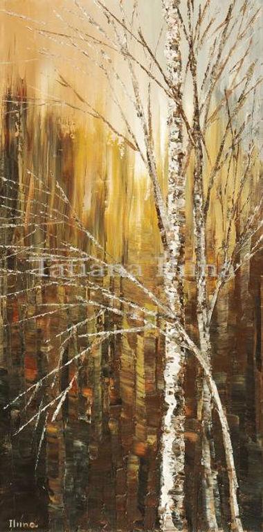 Birches Texting canvas print of original landscape painting by Tatiana iliina