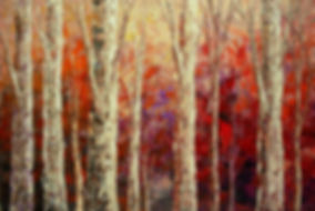 original landscape painting by Tatiana Iliina, red, rust, birch, acrylic on canvas, 24'x36""