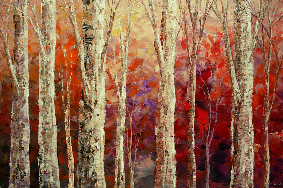 "original landscape painting by Tatiana Iliina, red, rust, birch, acrylic on canvas, 24""x36"""