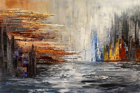 Shadowlands, original abstract landscape painting by Tatiana Iliina, palette knife, acrylic on canvas, 24'x36""