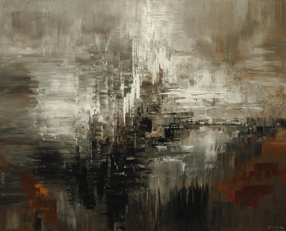 "Oort Cloud abstract painting by Tatiana Iliina acrylic on canvas, 24'x36"""