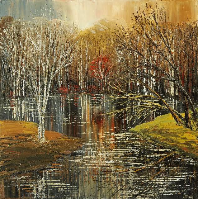muskrat municipality landscape canvas print of original painting by Tatiana iliina