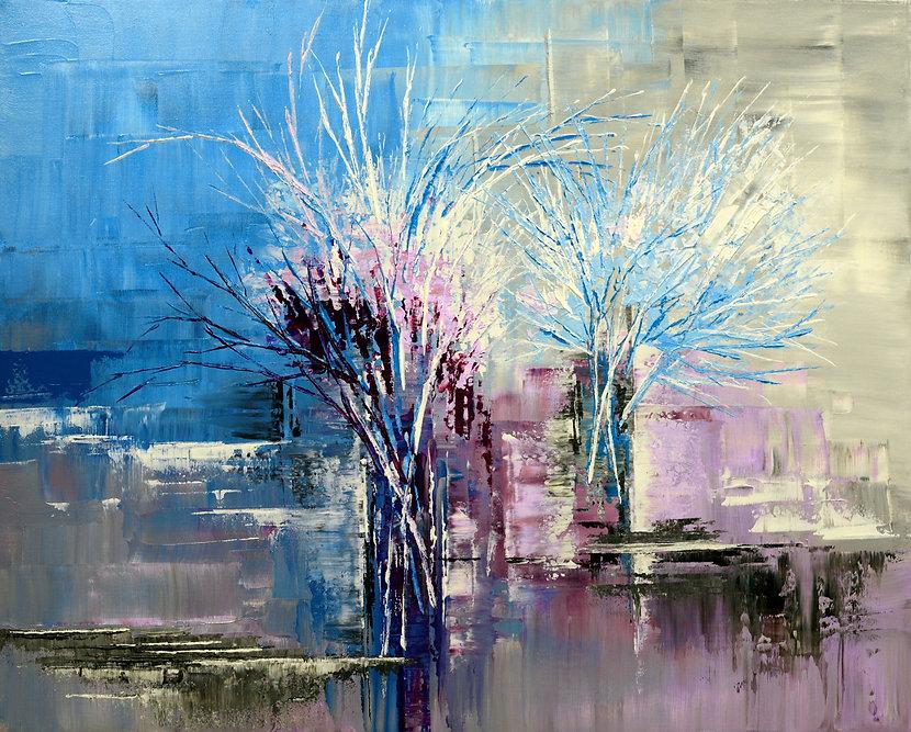 Through Morning's Light, original contemporary blue flower painting by Tatiana iliina