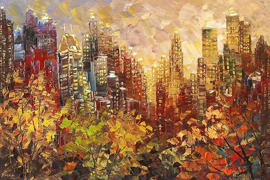 "original fall city skyline painting by Tatiana Iliina, NYC, Central Park, New York, palette knife, autumn colors, acrylic on canvas, 24'x36"""