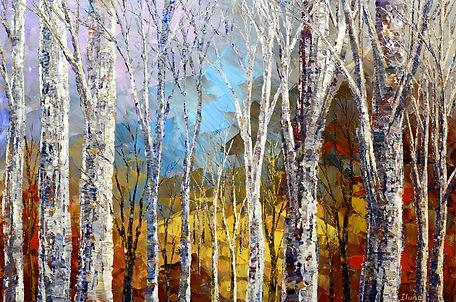 Time Tapestry, original fall winter landscape painting by Tatiana Iliina