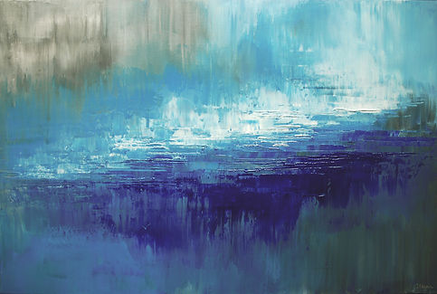"""Lost Paradsie, original abstract ocean painting by Tatiana Iliina, palette knife, acrylic on canvas, 24""""x36"""""""