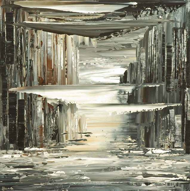 Which Way is the Sky, original surreal cityscape painting by Tatiana iliina, black and white fantasy city skyline
