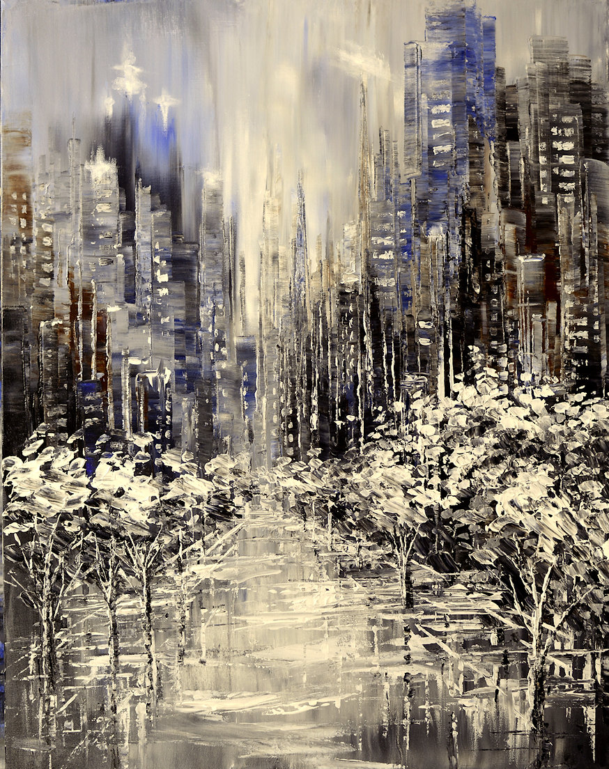 Snowflake Central original winter cityscape palette knife painting by Tatiana iliina for sale