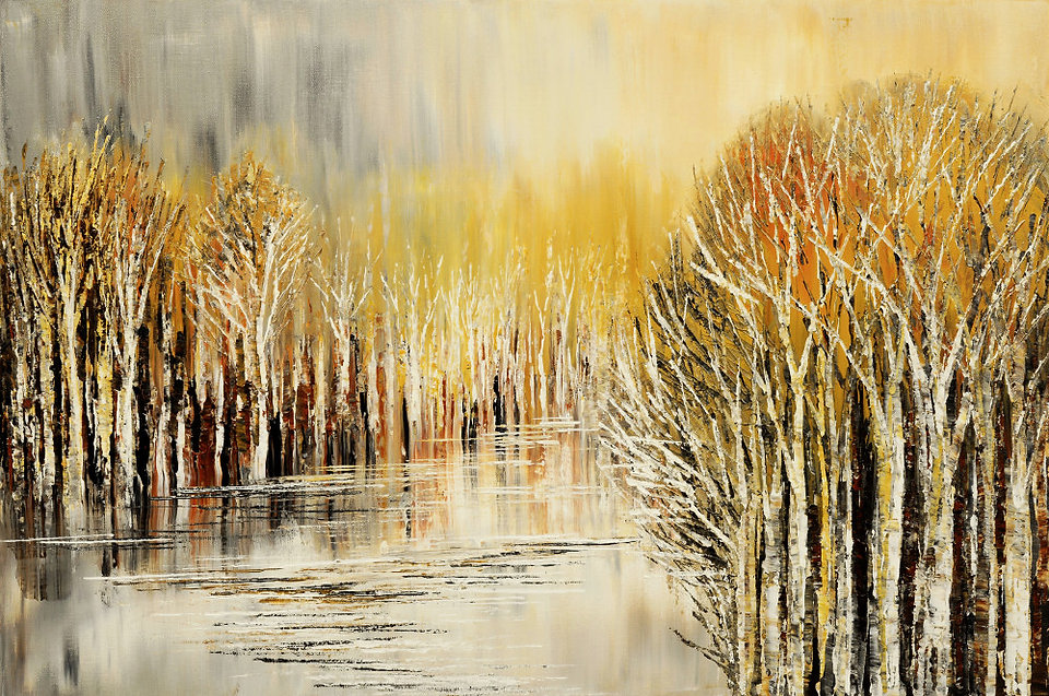 Original landscape painting by Tatiana Iliina birch forest palette knife, autumn, winter