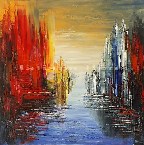 Stylish City original surreal painting by Tatiana Iliina, hand embellished limited edition giclee print