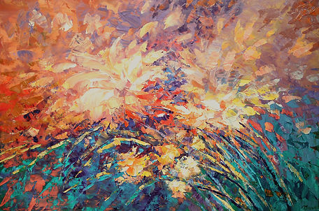 "Alluring Whisper impressionist flower painting, palette knife, acrylic on canvas, 24""x36"""