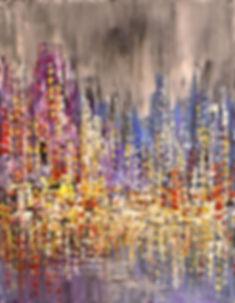 Blue Rain original cityscape painting, steampunk palette knife by Tatiana Iliina
