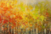 original olandscape painting by Tatiana Iliina, fall colors, palette knife, acrylic on canvas, 24'x36""