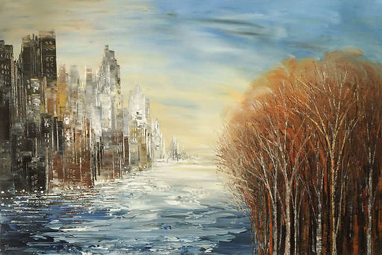 original landscape painting by Tatiana Iliina, contemporary cityscape, forest, water, palette knife,acrylic on canvas, 24'x36""